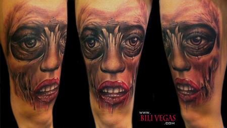 Freehand face Tattoo Design
