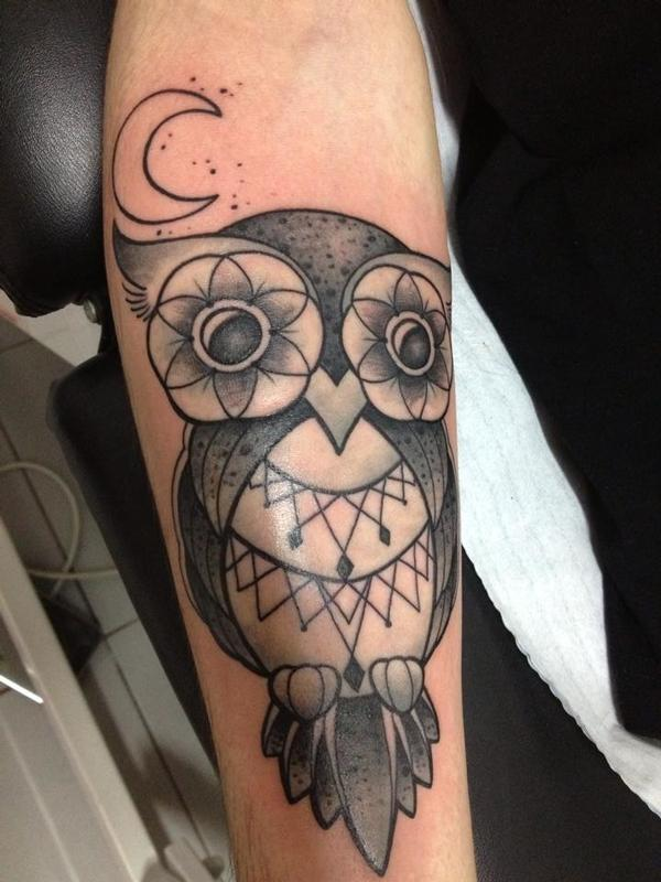 Owl my god by emy blacksheep tattoonow for Black sheep tattoo