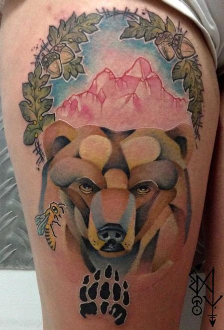 Bear in the automn Tattoo Design Thumbnail