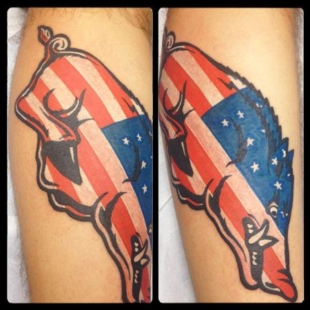 Tattoos - American Flag Razorback - 87015