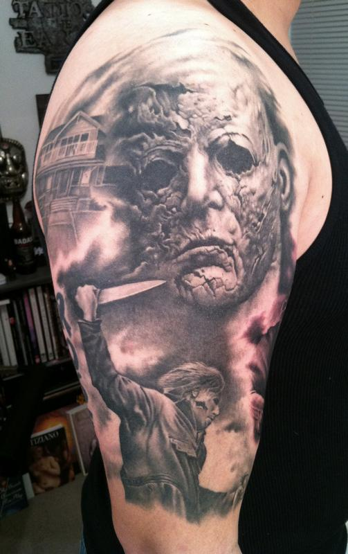 michael myers half sleeve by bob tyrrell tattoos