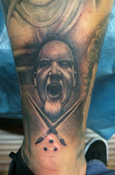 Bob Tyrrell Sullen Badge on leg Tattoo Design Thumbnail
