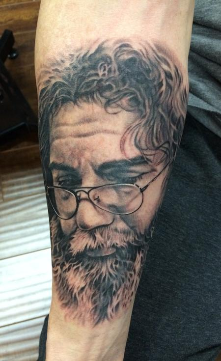 Tattoos - Black and Grey Jerry Garcia portrait - 87617