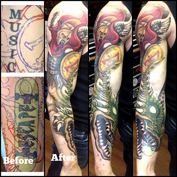 I've been working on some larger projects. Here's some shots of a sleeve I'm working on. It's also a double cover-up. Thanks for looking.