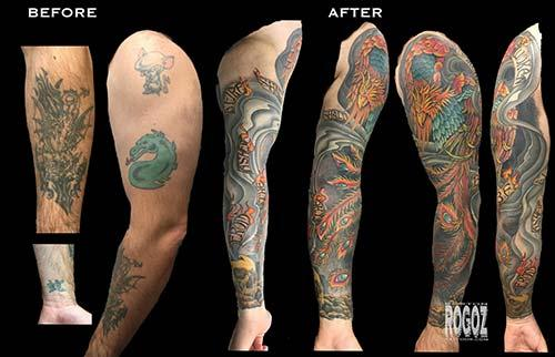 Phoenix Sleeve Cover Up Tattoo By Boston Rogoz Tattoonow