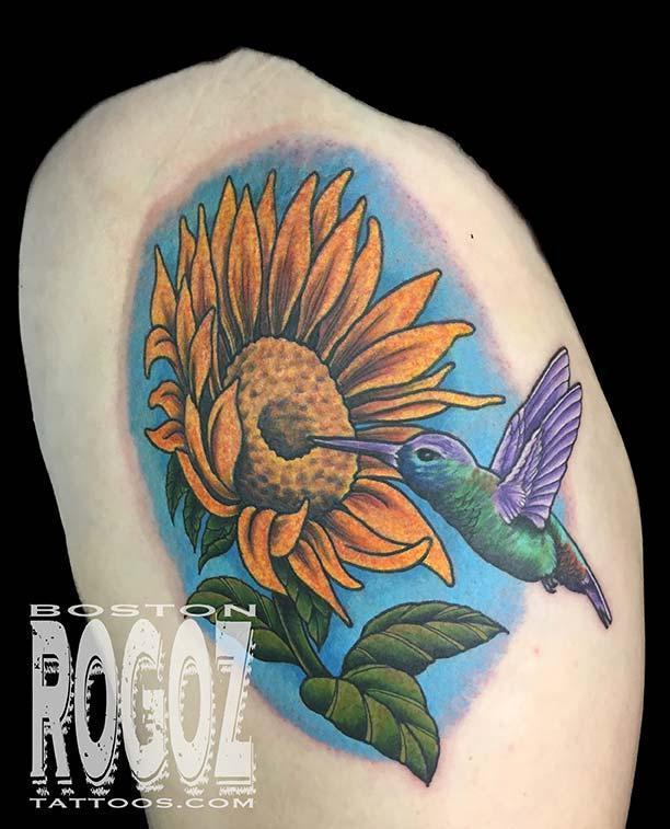 Sunflower and hummingbird tattoo by boston rogoz tattoos for Hummingbird hip tattoo