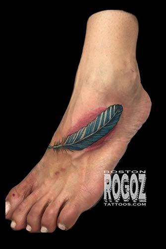 Feather foot tattoo by boston rogoz tattoos for Feather on foot tattoo