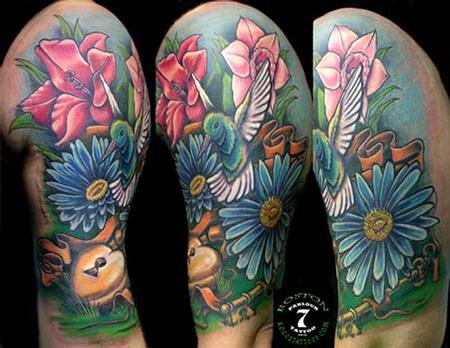 Tattoos - Hummingbird and flowers color tattoo - 84411
