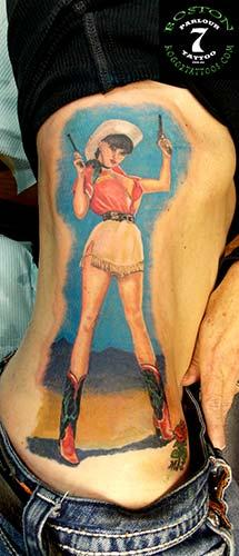 Tattoos - Cowgirl Pin-up tattoo - 86558