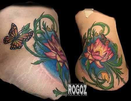 Tattoos - Lotus and Butterflies Hip Tattoo - 101514