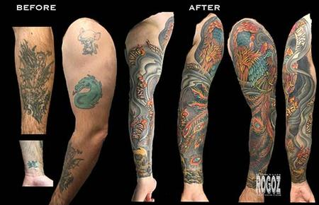 Phoenix sleeve cover-up tattoo Tattoo Design Thumbnail
