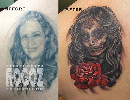 Ex-wife portrait cover-up tattoo Tattoo Design Thumbnail