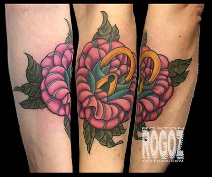 Color Rose Lock Tattoo Tattoo Design Thumbnail