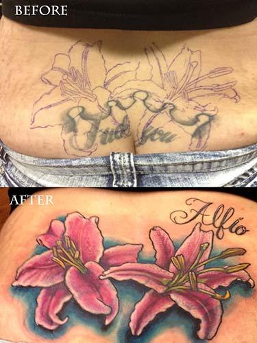 Tattoos - Stargazer Lily cover-up tattoo - 83970
