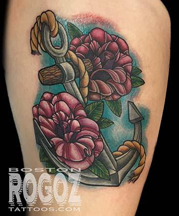 Anchor and roses tattoo Tattoo Design Thumbnail