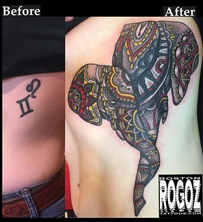 Tattoos - Elephant coverup - 130630