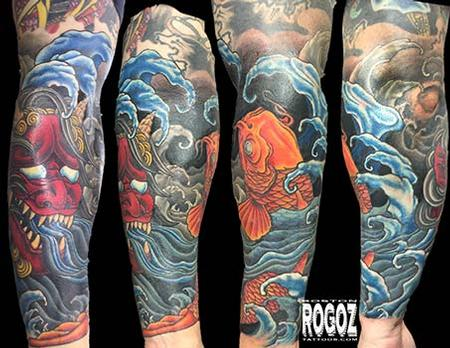 Tattoos - Koi and Oni forearm tattoo - 102020