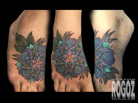 Tattoos - Peacock feather flower mandala - 111373