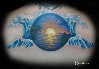 california ocean sunset with waves by boston rogoz tattoos. Black Bedroom Furniture Sets. Home Design Ideas