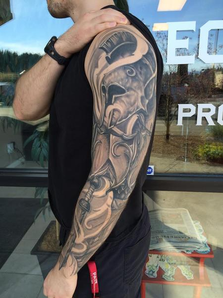 Tattoos - Black and Gray Knight Sleeve (Healed) - 124853