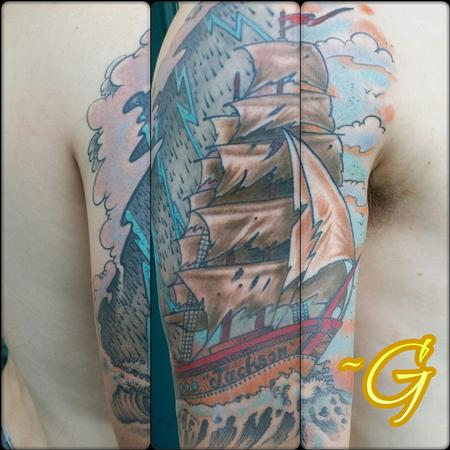 Tattoos - custom color traditional clipper tattoo - 98797