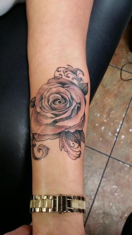 Tattoos - custom black and grey Rose - 98792