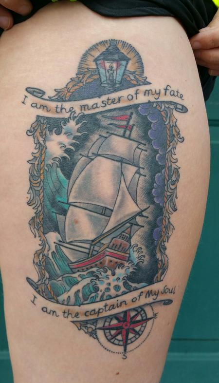 Tattoos - Custom color ship and sea - 101486