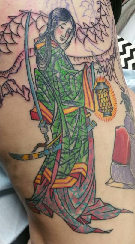 Glenn Collins - healed color Japanese Geisha girl tattoo