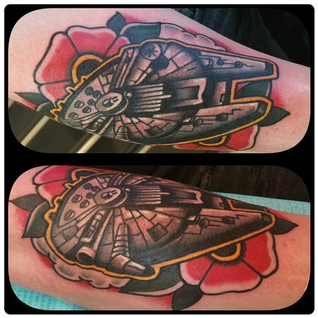 Tattoos - Millennium Falcon space tattoo and flower - 125824