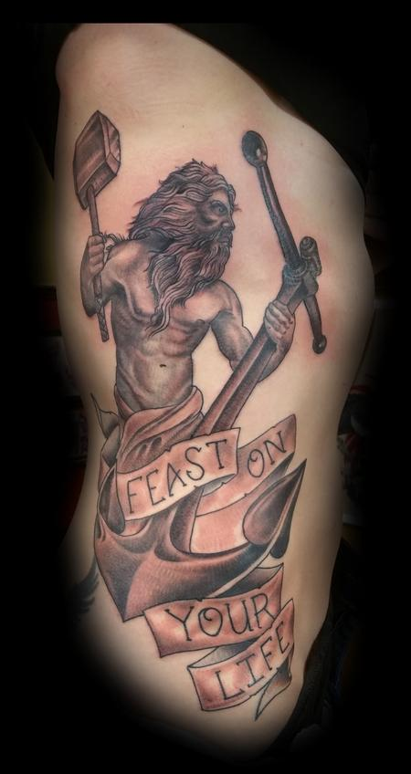 Tattoos - Black and Grey Hephaestus with Anchor - 116428