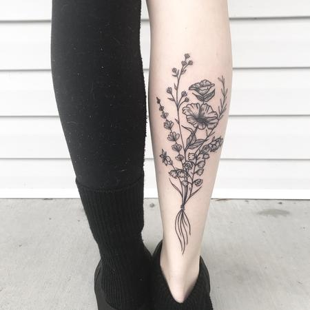 Blackwork flowers Tattoo Design Thumbnail