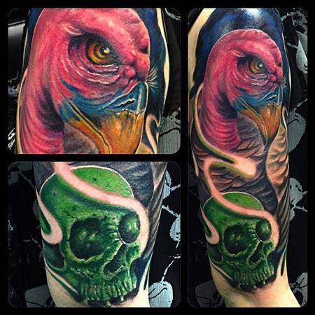 Tattoos - Buzzard and Skull Half Sleeve by Chad Miskimon - 101555