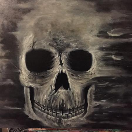 Chad Miskimon - Skull on masonite