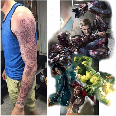 Tattoos - Marvel Sleeve (WIP) - 122393