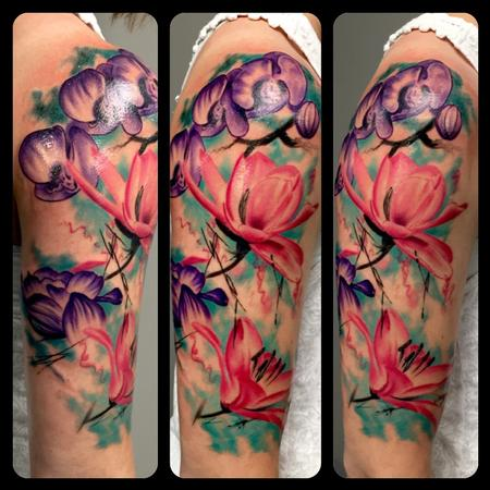 Watercolor Flowers Tattoo Design