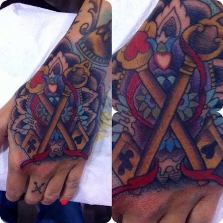 Tattoos - crossed keys on hand - 80218