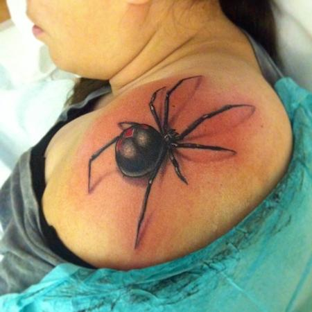 Tattoos - black widow on shoulder - 82406