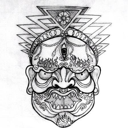 Tattoos - tibetan mask - 71743