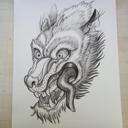 Tattoos - wolf sketch - 69857