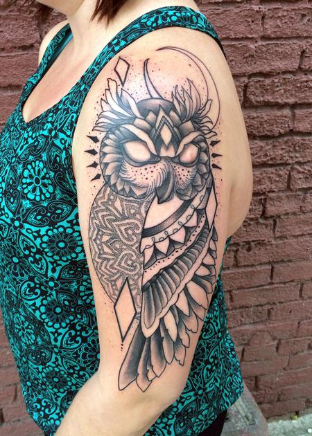 Tattoos - Owl with geometric mendhi design - 105093