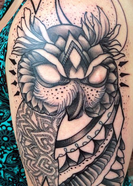 Canyon Webb - Owl with geometric mendhi design