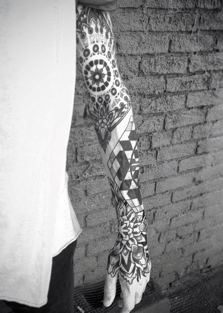 Tattoos - Mickey's geometric sleeve - 104972