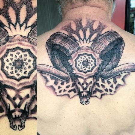 Ram Skull with dotwork Tattoo Design Thumbnail