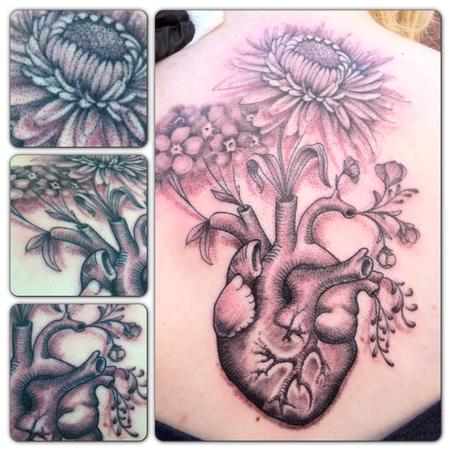 Tattoos - black and grey heart and flowers - 79643