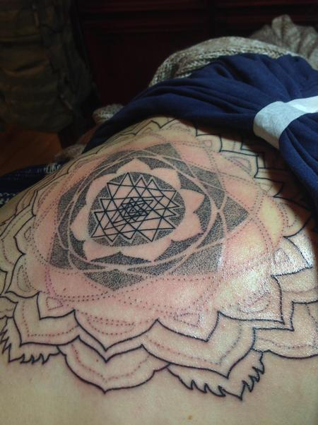 Tattoos - In progress Sri yantra in center of back- - 111998