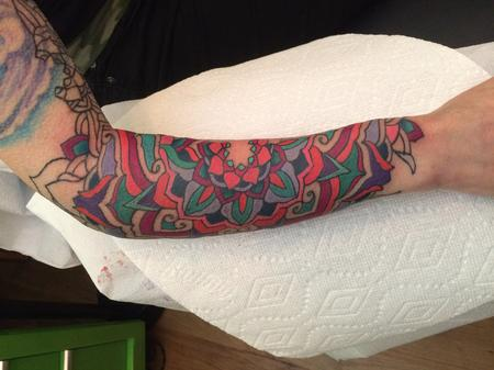 Color mandala on forearm Tattoo Design Thumbnail