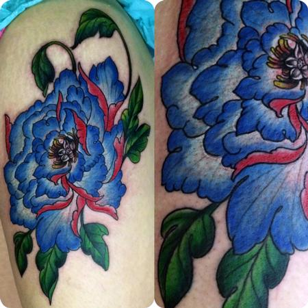 Peonie on thigh Tattoo Design Thumbnail