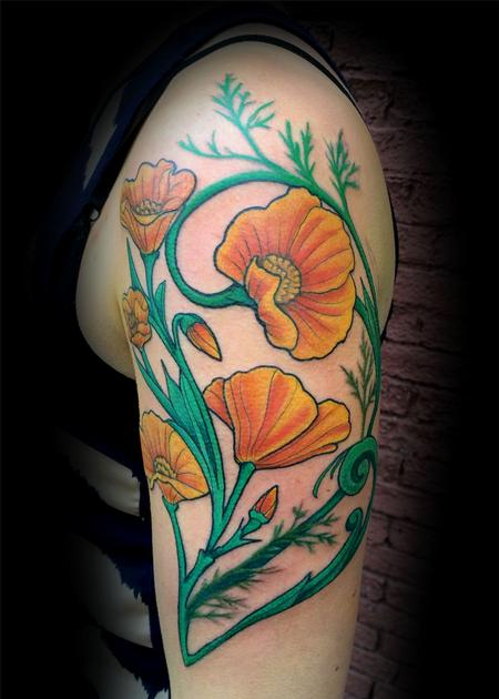 Tattoos - art nouveau poppies - 89553