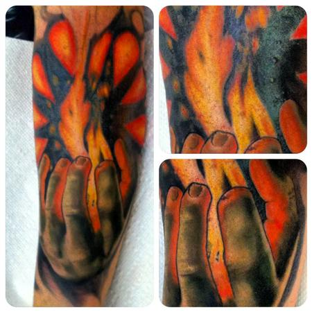 Tattoos - Hand holding flame - 82194
