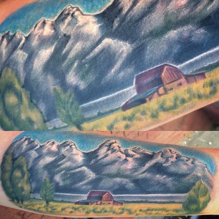 Canyon Webb - Memorial tattoo of the Tetons Mtns.